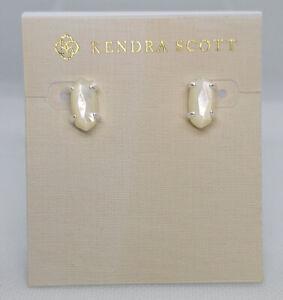 New Kendra Scott Betty Stud Earrings In Ivory Shell / Matte Silver