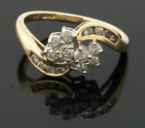 10K yellow gold 0.50CT diamond cluster cocktail ring size 5.75