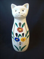 Vintage Candle Holder Cat Vented for Light Handpainted Flowers Made Japan 1960s