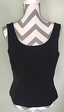 TAHARI Womens Black Pinstripe Sleeveless Business Suit Layer Shell Top Size 10