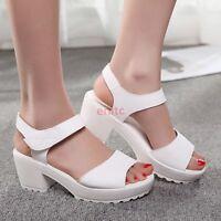 Ladies Synthetic Leather Peep Toe Platform Block Chunky Heel Roman Sandals Shoes