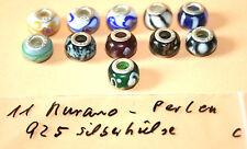 Murano Glas Beads , 925 Silber Hülse, gestempelt,, C