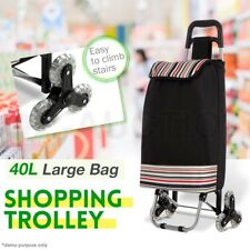 Shopping Cart Carts Trolley Bag w/ Vibrant Coloured Nylon Luggage Wheels Black