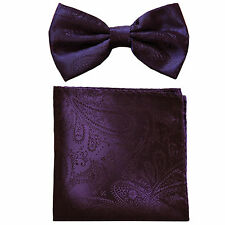New formal men's pre tied Bow tie & hankie set paisley pattern dark purple prom