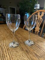 Arthur Court Silver tone  and Glass Goblets/Wine Glasses (2) grapes design EUC