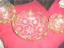 EAPG EARLY AMERICAN PATTERN GLASS  BERRY BOWL SET 5 PIECE SET WITH GOLD TRIM