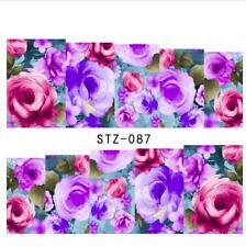 Pink Purple Rose Nail Art Sticker Decal Decoration Manicure Water Transfer