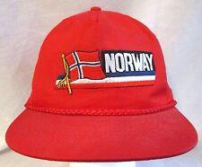 Vintage Norway Baseball Cap Hat Red Adjustable Snapback