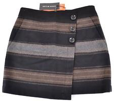 NEW KAREN MILLEN SP045 COLORBLOCK WOOL CASHMERE STRIPED MINI SKIRT~10 14 42