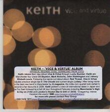 (AZ540) Keith, Vice And Virtue - DJ CD