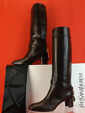 YSL YVES ST LAURENT CHOCOLATE LEATHER CHYC THELMA TALL RIDING HARNESS BOOTS 41