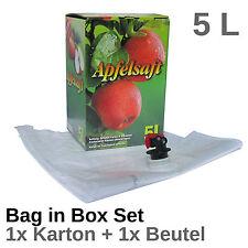 Bag in Box SET - 1 Stück Karton & 1 Stück Beutel 5 Liter Bag-in-Box - Apfelsaft