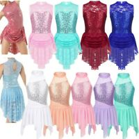 Kids Girls Lyrical Sequin Dance Dress Ballet Leotard Irregular Dancewear Costume