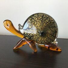 Solid Glass Snail Figurine Orange and Clear Glass Gold Flecked Body #402