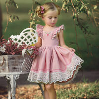 US Canis Princess Kids Baby Girls Lace Floral Party Tutu Dress Outfits Clothes
