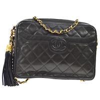 CHANEL Quilted CC Logos Fringe Chain Shoulder Bag Black Leather GHW AK36802h