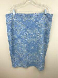 Lularoe 3XL Cassie Skirt Periwinkle Blue Cream Floral Print Textured Stretch
