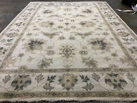10x14 MUTED WOOL RUG HANDMADE HAND-KNOTTED mute neutral ivory beige cream carpet
