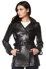 Ladies Black Classic Trench Mid Length Designer Leather Jacket Coat 1123