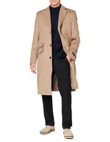 Mens Camel Wool Covert Overcoat Warm Winter Mod Single Breasted Cromby Coat