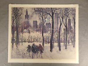 Signed ALEX YAWORSKI MID-CENTURY MODERN ART PRINT Winter In Chicago Scene