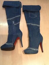 Womens Over Knee Boots Side Zippers High Stiletto Heel Platform Denim Shoes 37
