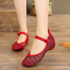 Women Chinese Traditional Cloth Shoe Comfort Mary Jane Floral Flat Shoe Casual