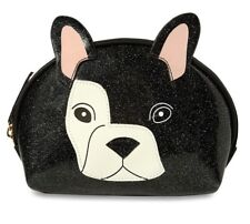 e7964e6ef0 New Black Sparkly Frenchie Dog Makeup Cosmetics Bag Womens Primark