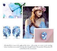 1.9ct Genuine Blue Topaz 925 Sterling Silver Stud Earrings UK Seller