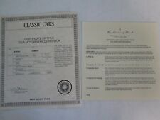 Danbury Mint Paperwork 1931 Mercedes Benz SSKL Roadster