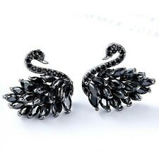 925 Sterling Silver Elegant Black Swan Design Black Onyx Gems Stud Hook Earrings