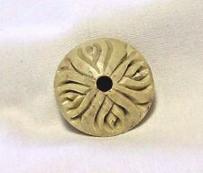 1 VINTAGE HAND CARVED ROUND PILLOW SHAPE SOAPSTONE BEAD INDIA BIG 33mm BEAUTY