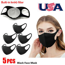 5Pcs Face Mask Washable Reusable Breathable Stretchy Masks Build-in KN90 Filter/