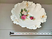 RS Prussia Floral Bowl Lovely Antique Floral  Scalloped Large Serving 11''W