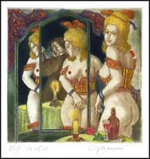 David Bekker 2009 Exlibris C4 Erotic Erotik Nude Nudo Woman Mirror Wine 917