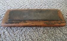 Antique Sharpening Stone Whetstone Primitive Wood Case, Fine Grit, Square Nails