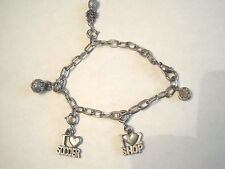 """""""High Intencity"""" Charm Bracelet 7 1/2 """" long Silver Tone 5 charms For young girl"""