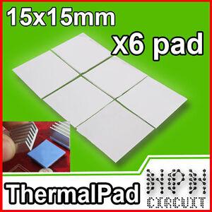 6x PAD TERMICO Thermal Pad 15x15x1mm Pasta Termica Alta Dissipazione