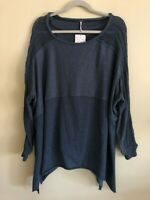 Free People My Girl Pullover Teal Steel Size S