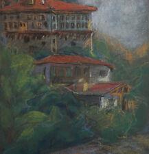 Vintage pastel painting expressionist landscape houses