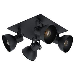 Adjustable 4 Bulb Ceiling Spotlight Black Industrial Steel Shade 40W E27