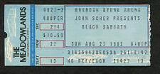 1982 Black Sabbath Johnny Van Zant Concert Ticket Stub Meadowlands NJ Mob Rules