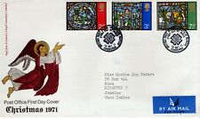 1971 GREAT BRITAIN CHRISTMAS ALL 3 STAMPS OFFICIAL CACHET MACHINE ADDRESSED FDC