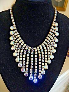Bib Festoon Aurora Borealis Crystal  Necklace 1950's