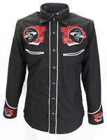 Black Red Rockabilly Western Cowboy Vintage/retro Shirts