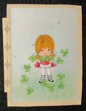 "ST PATRICKS DAY Cute Girl w/ Clover 6x8"" Greeting Card Art #7071"