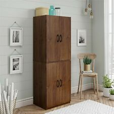 Tall Wooden Storage Cabinet Kitchen Pantry Cupboard Concealed Doors Brown Shelf
