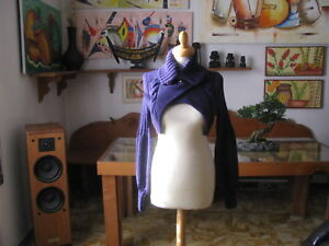 Cardigan Half Bust, Colour Plum, Size M - Made IN Italy