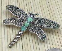 Fashion Pin Cast Silvertone Filigree Aqua Enamel Large Dragonfly Brooch