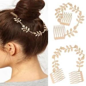 Womens Lady Golden Tone Tassel Leaf Hair Cuff Chain Comb Headband Hair Band Comb
